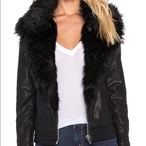Faux fur leather jacket, blank nyc